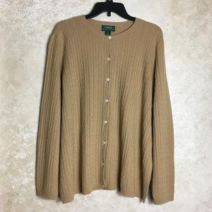 LAUREN Ralph Lauren 2X Cardigan Sweater Cashmere